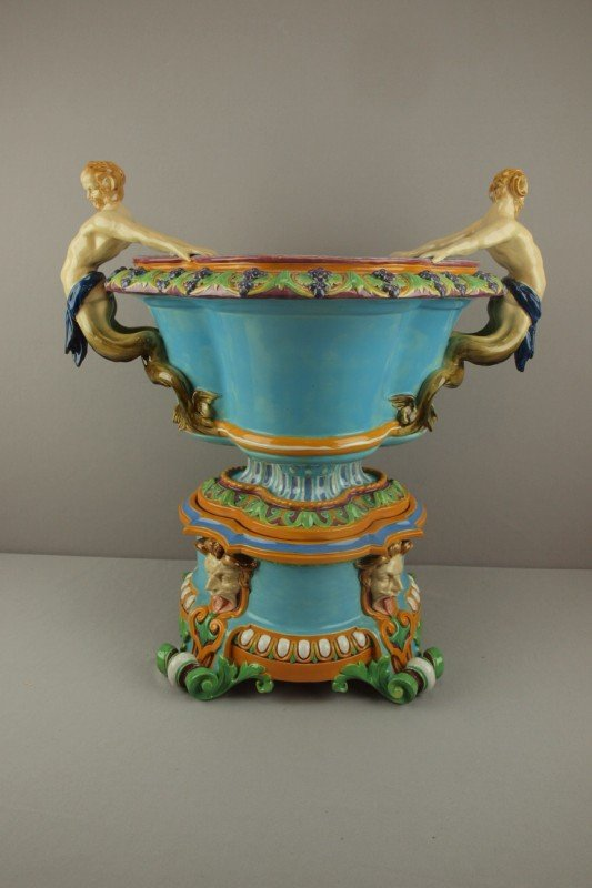 795: MINTON majolica monumental  two piece wine cooler