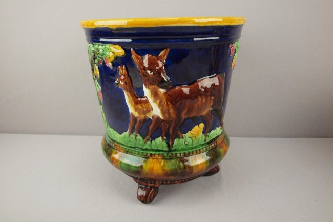 802: Cobalt majolica cachepot with deer and tree motif,