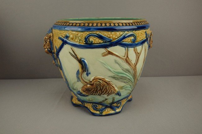 803: French jardiniere with stork  in marsh and lion ma