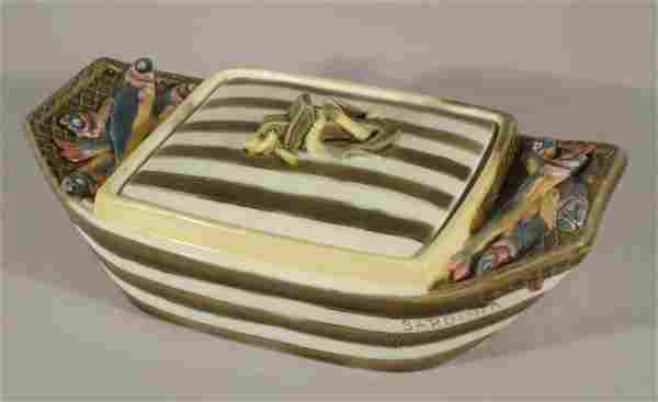 "WEDGWOOD majolica ""Sardinia"" sardine dish, impres"
