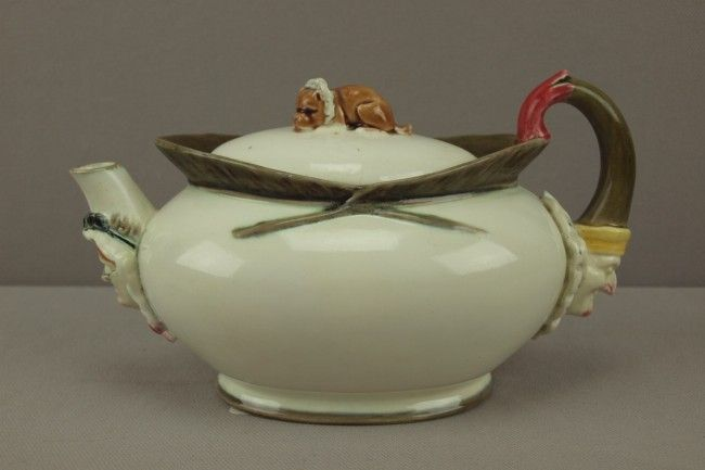 """WEDGWOOD majolica rare figural teapot with """"Punch,"""