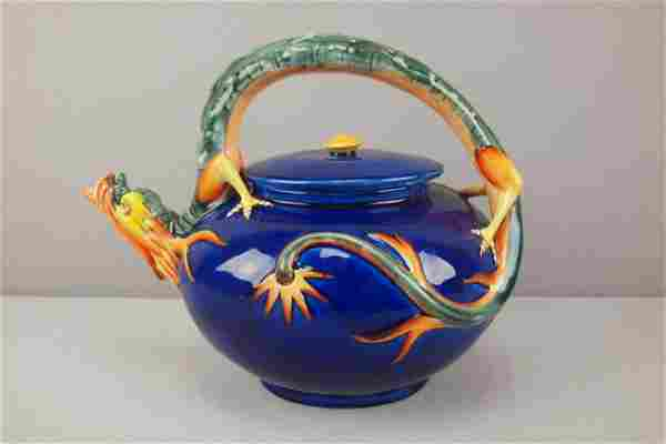 WEDGWOOD majolica figural teapot with dragon handl
