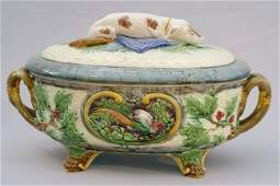 902 MINTON majolica gun dog game  tureen great detail