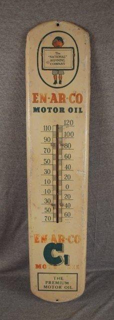 2: En-Ar-Co Motor oil advertising thermometer, tin, pai