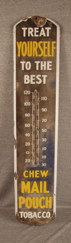 6: Mail Pouch porcelain advertising thermometer, losses