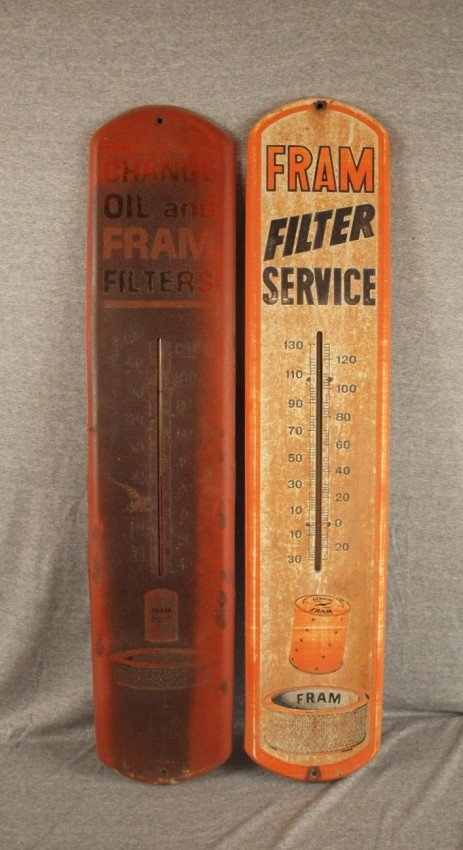 """9: 2 Fram Oil Filter tin advertising thermometers, 39"""","""