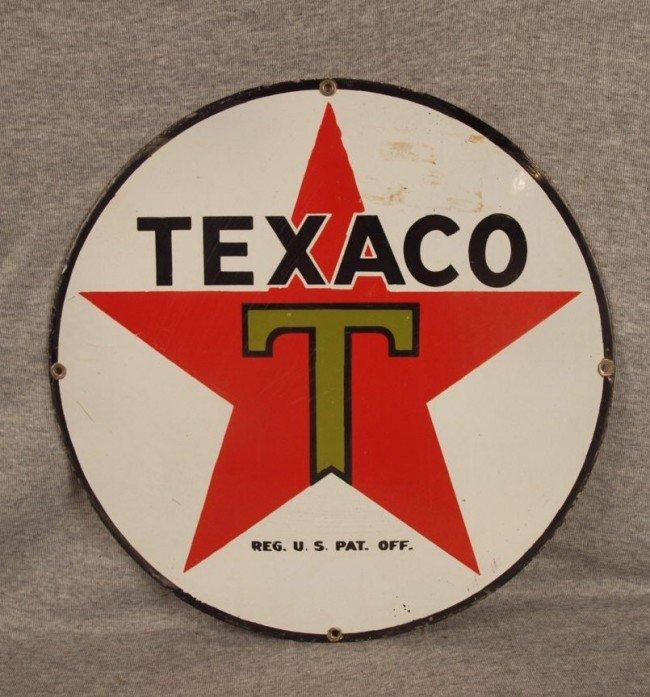 "11: Texaco porcelain advertising sign, 15""d"