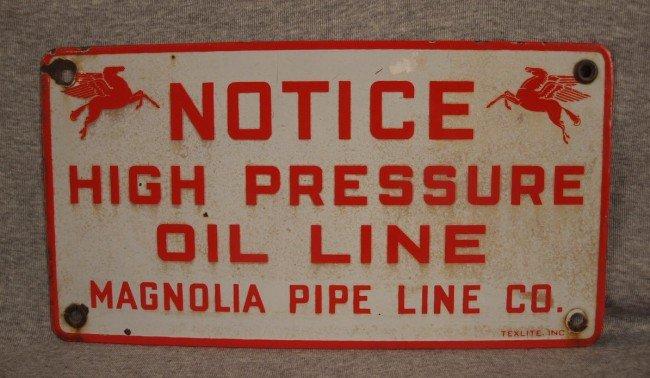 "14: Mobil porcelain advertising sign, ""Notice High Pres"