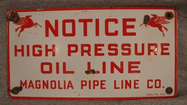 "15: Mobil porcelain advertising sign, ""Notice High Pres"
