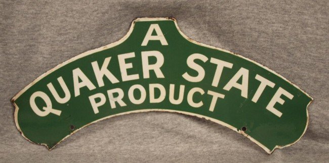 16: Quaker State porcelain advertising sign, 2 sided, 1