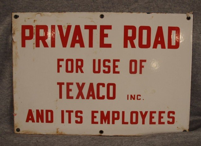 """18: Porcelain 2 sided advertising sign """"Private Road Fo"""