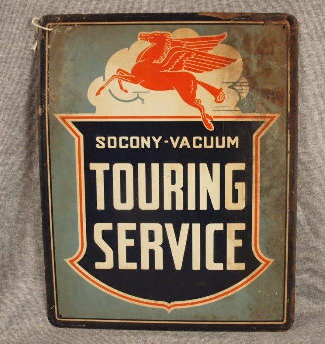 "19: Mobil tin advertising sign ""Socony-Vacuum Touring S"