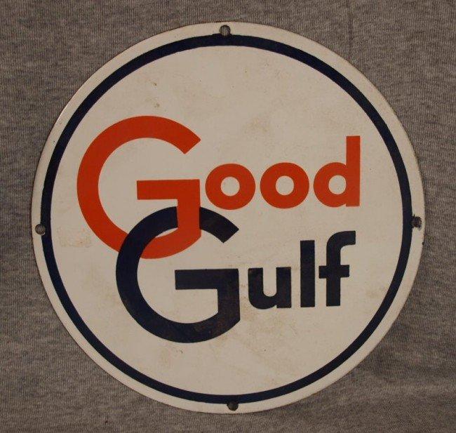 "20: Good Gulf porcelain advertising sign, 10 1/2""d"