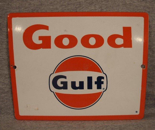 "21: Good Gulf porcelain advertising sign, 10 3/4"" x 8 1"