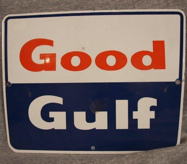 "22: Good Gulf porcelain advertising sign, 10 3/4"" x 8 1"