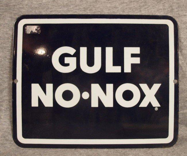 "24: Gulf No-Nox porcelain advertising sign, 10 1/2"" x 8"