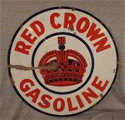 29 Red Crown Gasoline porcelain 2 sided advertising si