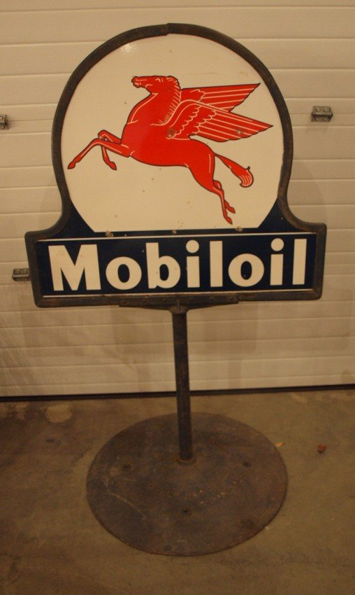 134: Mobiloil lolipop sidewalk sign with cast iron base