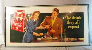 """393: Coca Cola cardboard sign, """"The Drink They All Expe"""