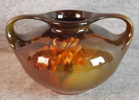 Lonhuda Standard Glaze Art Pottery Two Handled Cab