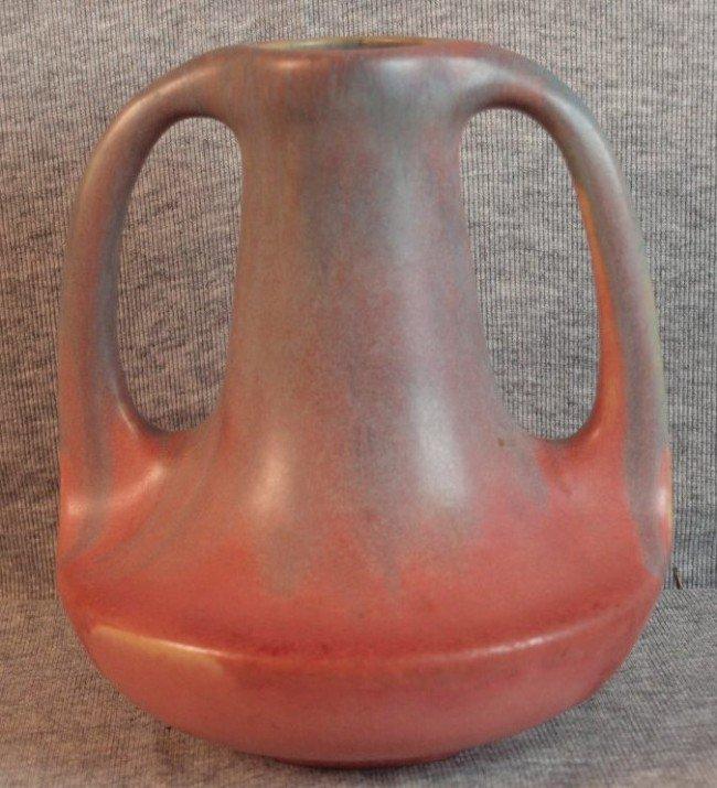193: Muncie art pottery two handle bulbous vase, lavend