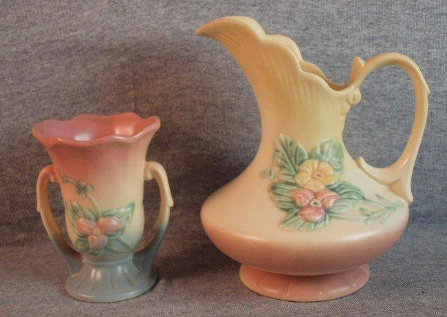 "196: Hull Wildflower vase, W-3-5 1/2"" and ewer W-11-8 1"