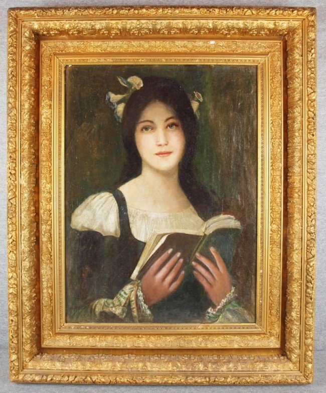 279B: Oil on board of a lady in dark green dress with m