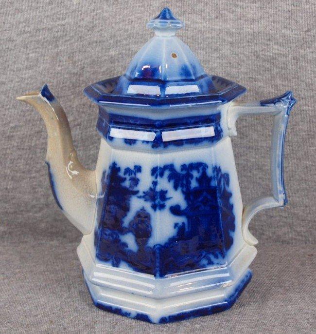 """385: Flow Blue """"Temple"""" teapot, nic to spout"""