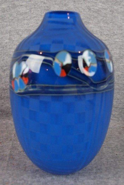 2:   J. Byron studio art glass vase, dark blue with flo
