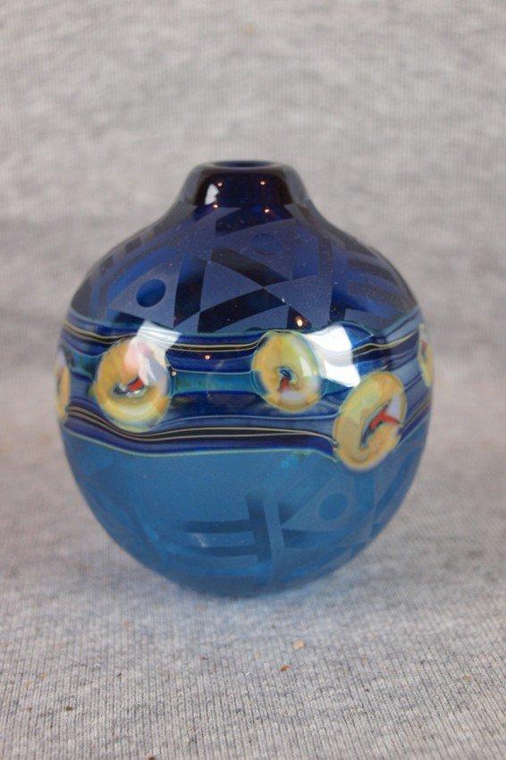 3:   J. Byron studio art glass vase, dark blue with flo