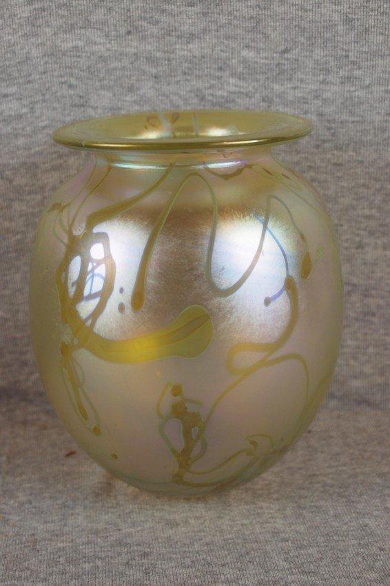 """10:   Eickholt gold iridescent art glass vase, 7"""""""