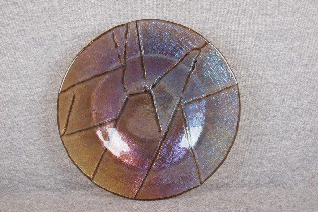 18:   Studio art glass amethyst iridescent charger, 13