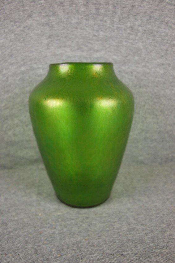 90:   Loetz Austria signed green iridescent oil spot ar