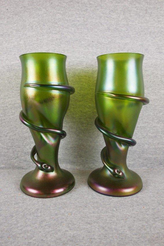 91:   Pair of Loetz (unsigned) art glass green iridesce