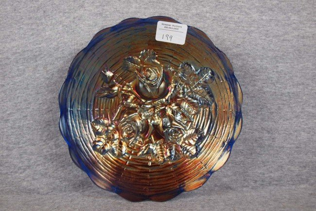 """199:   Northwood blue Rose Show carnival glass 9 1/2"""" p"""