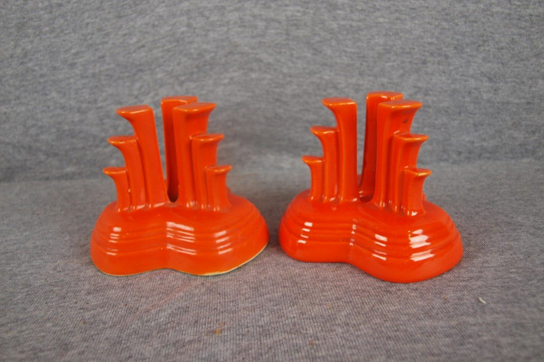1: Fiesta pair tripod candleholders, red