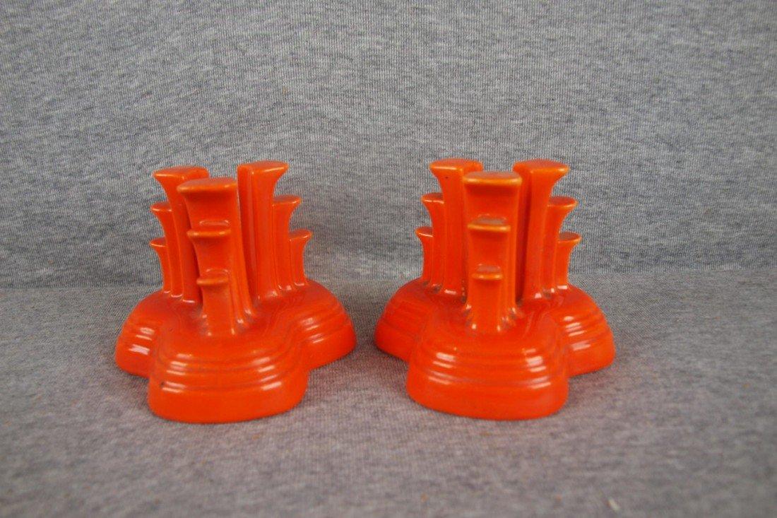 2: Fiesta pair tripod candleholders, red