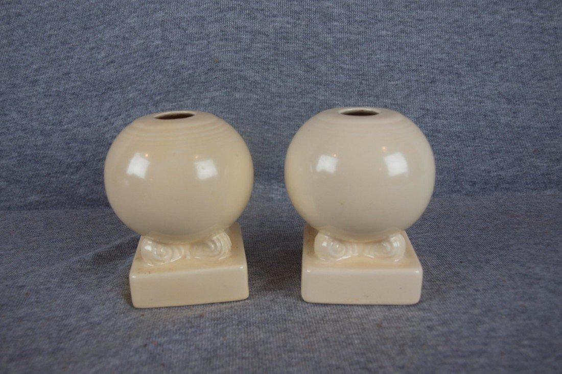 10: Fiesta ivory pair of bulbcandle holders