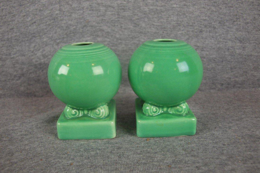 11: Fiesta light green pair bulb candle holders
