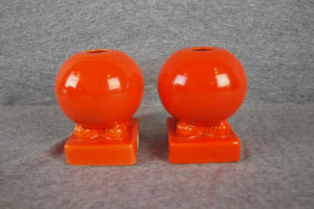 13: Fiesta red pair of bulbcandle holders