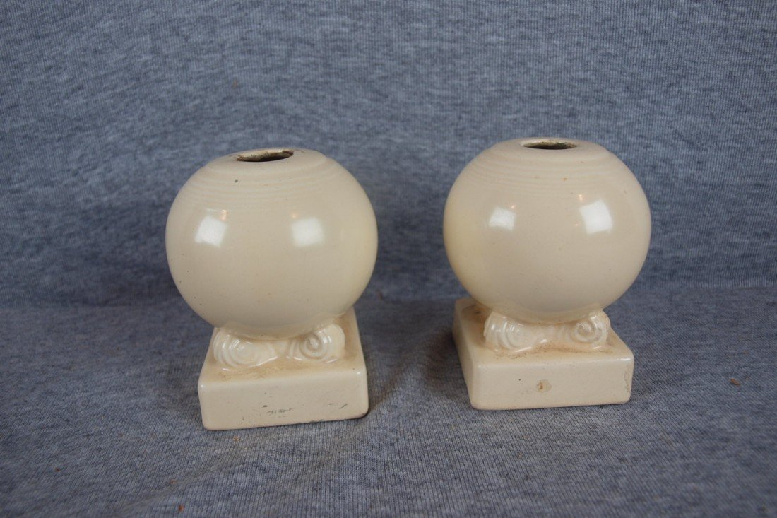 16: Fiesta ivory pair of bulbcandle holders