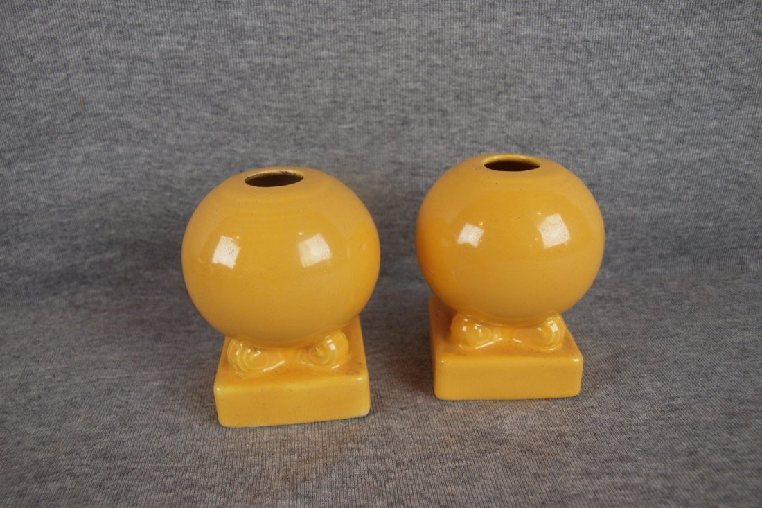 18: Fiesta yellow pair of bulb candle holders,