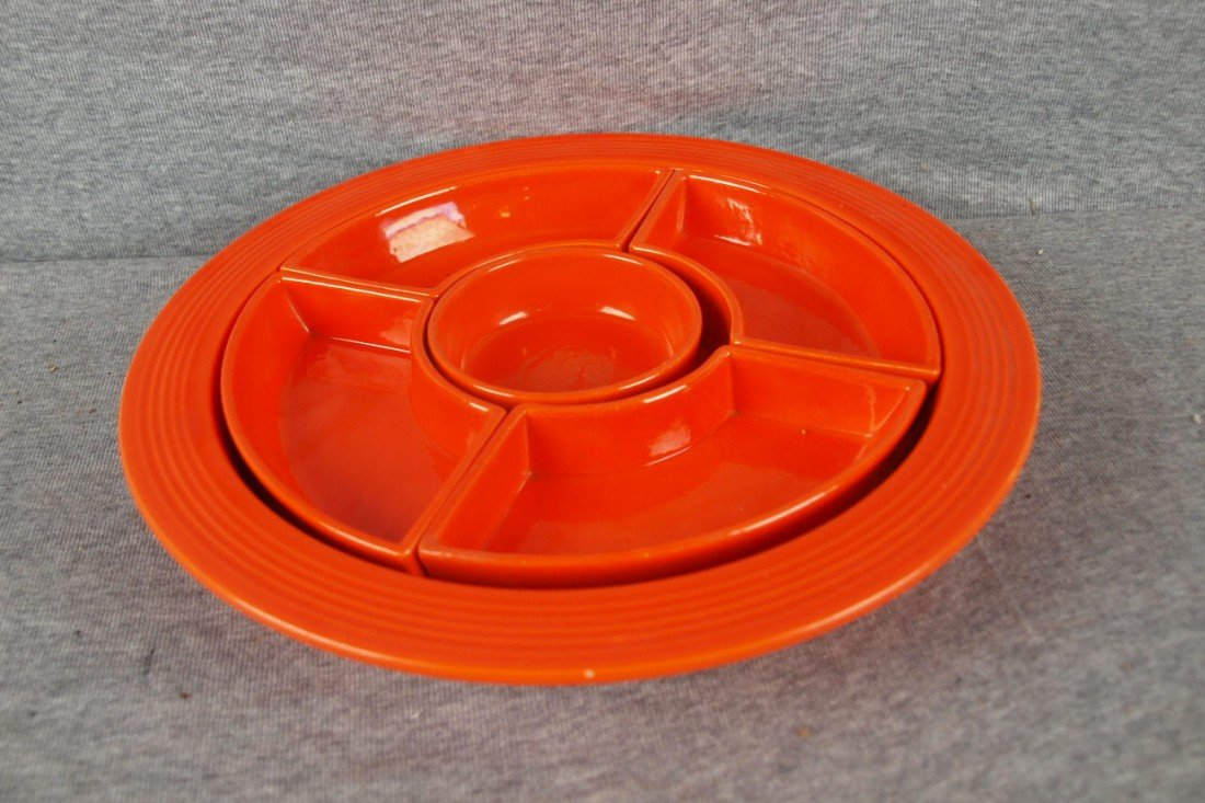587: Fiesta red relish tray,complete