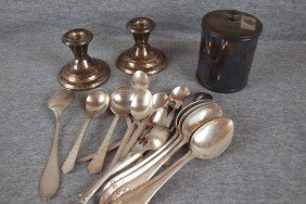 10: Lot of assorted silver plate flatware and pair of s