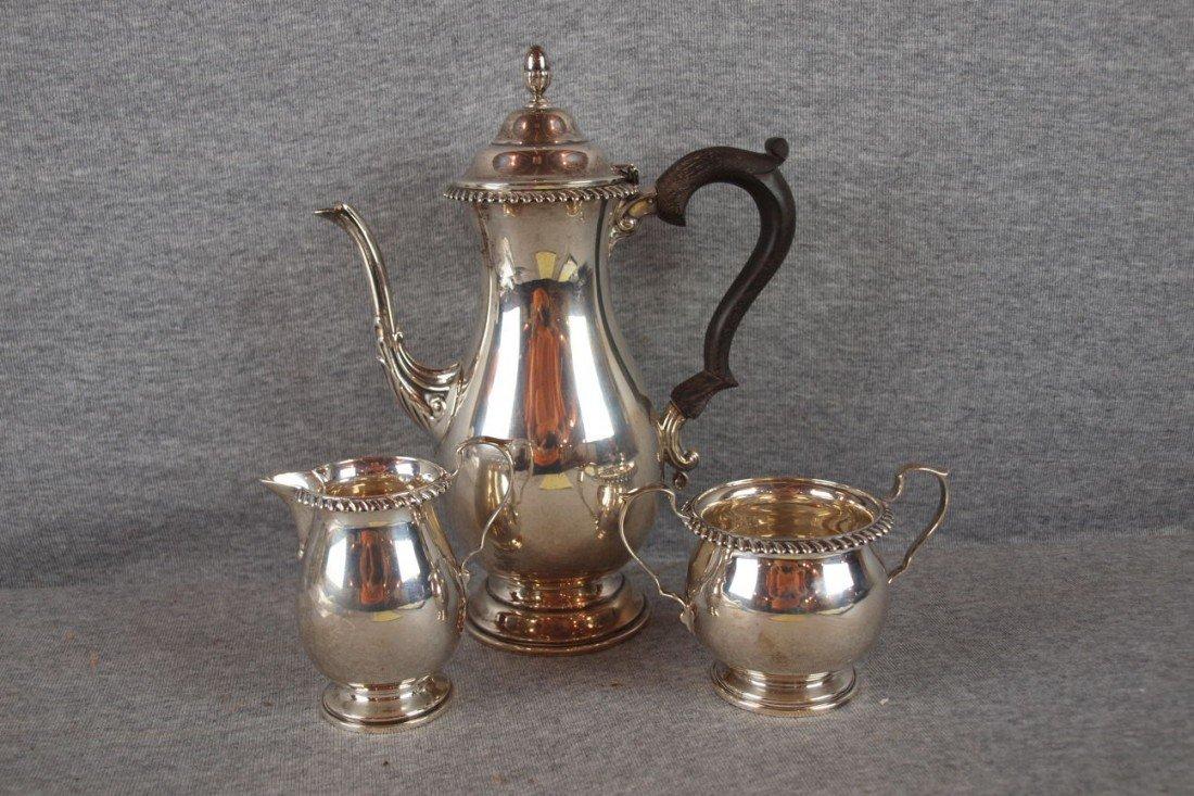 17:  Wyler, New York sterling silver 3 piece coffee ser