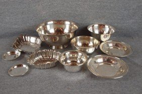 18:  Sterling silver lot of 10 bowls and trays, 46.4 oz