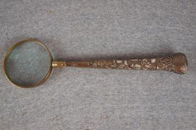 """21:  Sterling, brass and MOP desk magnifying glass, 14"""""""