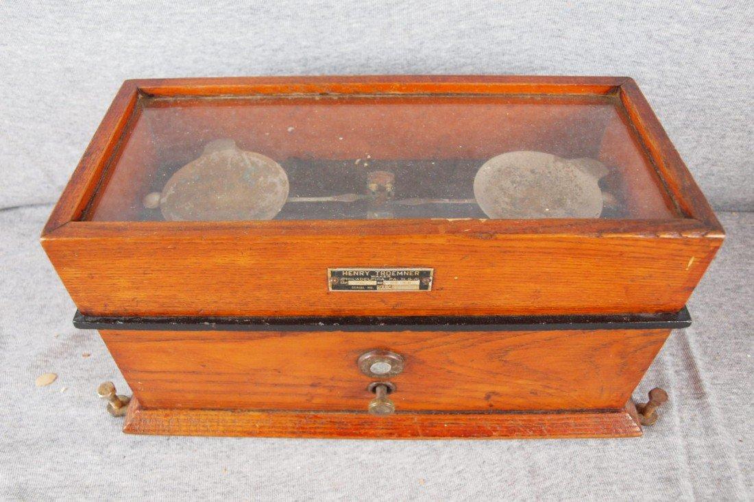 112:  Henry Troemner, Philadelphia gold scales with oak