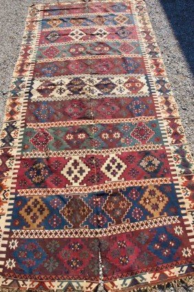 "154:  Oriental 2 piece rug, 5' x 10'6"""