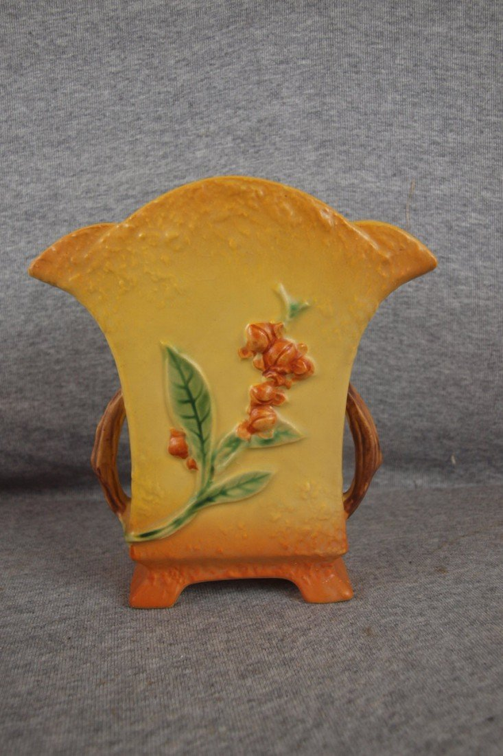 2: Roseville Bittersweet pillow vase, 874-7""